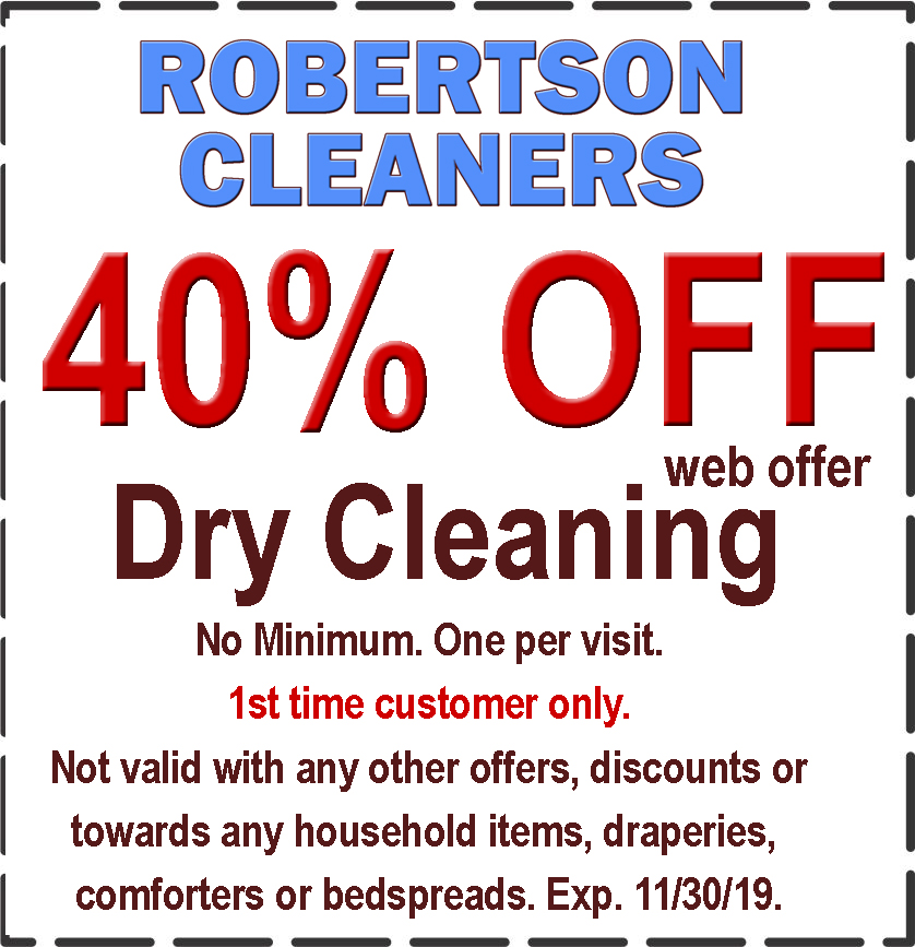 photograph about Printable Dry Cleaning Coupons referred to as Robertson Cleaners -