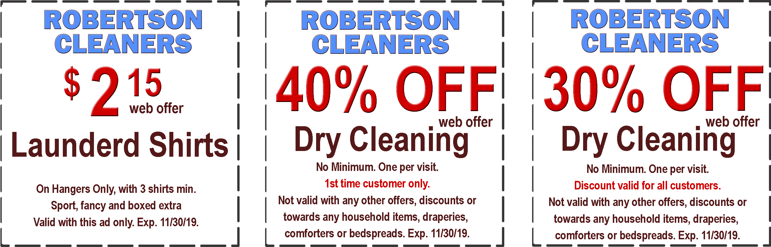 graphic regarding Printable Dry Cleaning Coupons named Robertson Cleaners -